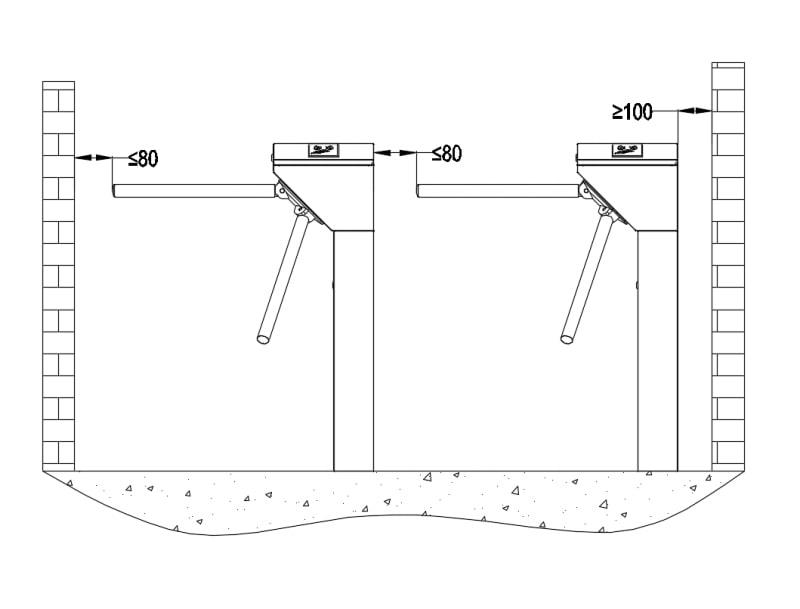 Kích thước lắp đặt tripod